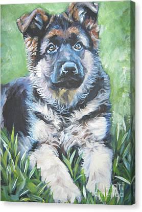 German Shepherd Puppy Canvas Print by Lee Ann Shepard