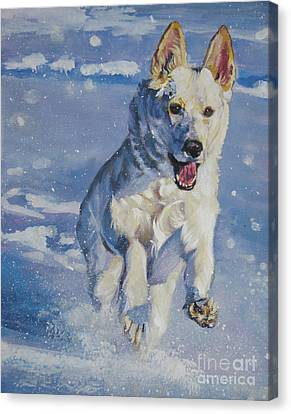 Christmas Dog Canvas Print - German Shepherd White In Snow by Lee Ann Shepard
