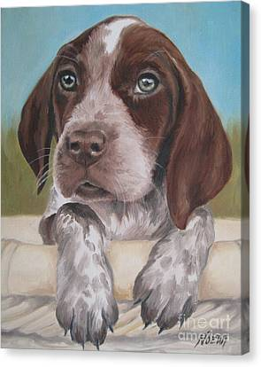 Canvas Print featuring the painting German Shorhaired Pointer Puppy by Jindra Noewi
