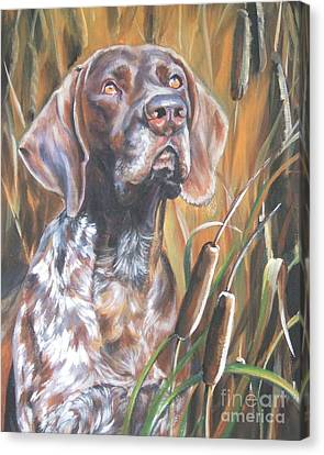 Cattail Canvas Print - German Shorthaired Pointer In Cattails by Lee Ann Shepard
