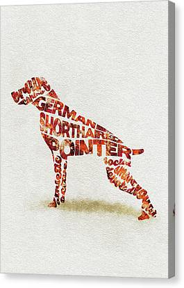 German Shorthaired Pointer Watercolor Painting / Typographic Art Canvas Print