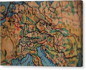 German Vintage Map Of Central Europe From Old Globe Canvas Print by Design Turnpike
