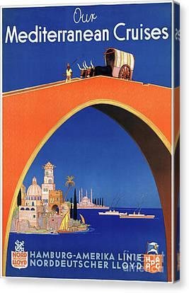 Germany Hamburg Vintage Travel Poster Restored Canvas Print by Carsten Reisinger