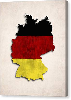 Germany Map Art With Flag Design Canvas Print by World Art Prints And Designs
