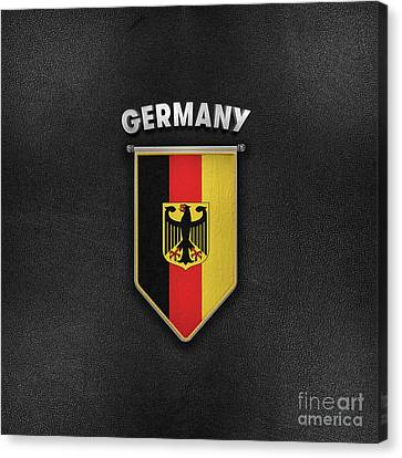 Germany Pennant With Leather Style Background Canvas Print by Carsten Reisinger