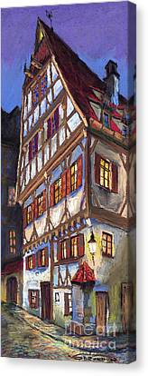 Building Canvas Print - Germany Ulm Old Street by Yuriy  Shevchuk