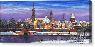 Germany Ulm Panorama Winter Canvas Print by Yuriy  Shevchuk