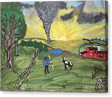 Canvas Print featuring the painting Get In The Barn by Jeffrey Koss