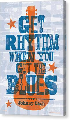 Get Rhythm - Johnny Cash Lyric Poster Canvas Print by Jim Zahniser
