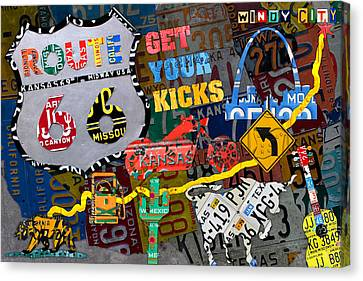 Get Your Kicks On Route 66 Icons Along The Highway Recycled Vintage License Plate Art Canvas Print