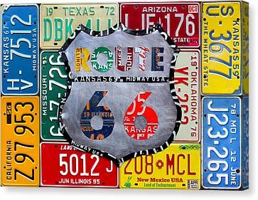 Get Your Kicks On Route 66 Recycled Vintage State License Plate Art By Design Turnpike Canvas Print by Design Turnpike