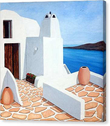 Santorini Getaway, Original Oil Painting Available And Prints Canvas Print