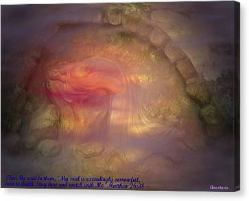 Canvas Print featuring the photograph Gethsemane Vision A Night Of Blood-sweat And Tears by Anastasia Savage Ealy
