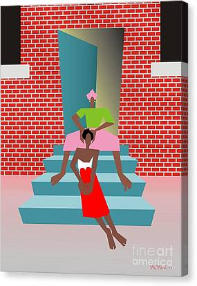 Gettin Her Hair Did Canvas Print by Walter Oliver Neal