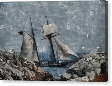 Ship Canvas Print - Getting Close To The Rocks by Jeff Folger