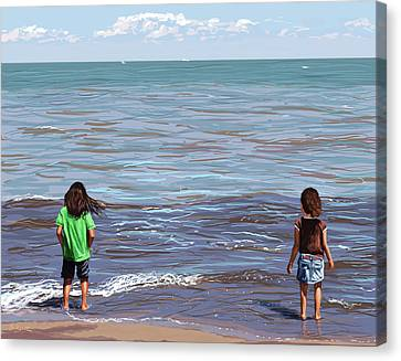 Canvas Print featuring the painting Getting Their Feet Wet by Shawna Rowe