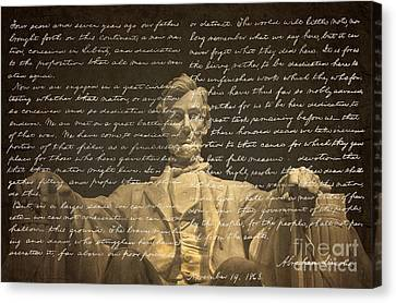 Gettysburg Address Canvas Print by Diane Diederich
