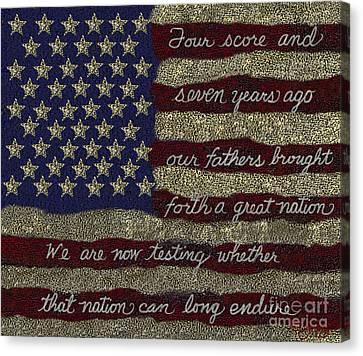 Gettysburg Homage Flag Canvas Print by Carol Jacobs