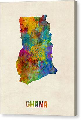 Ghana Watercolor Map Canvas Print by Michael Tompsett