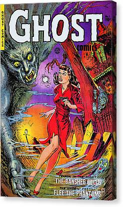 Haunted House Canvas Print - Ghost 1st Issue 1951 Vintage by Ian Gledhill