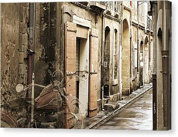 Ghost Harley On Narrow Street Canvas Print by Gary Gunderson