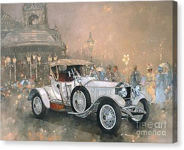 Vintage Car Canvas Print - Ghost In Scarborough  by Peter Miller