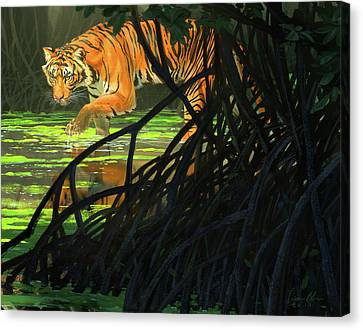 Ghost Of The Sunderbans - Bengal Tiger Canvas Print by Aaron Blaise