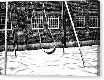 Schoolyard Canvas Print - Ghost On A Swing by Bill Cannon