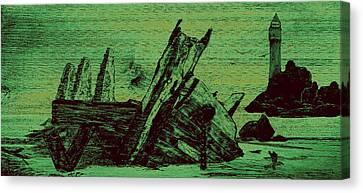 Ghost Shipwreck Canvas Print by Ken Figurski