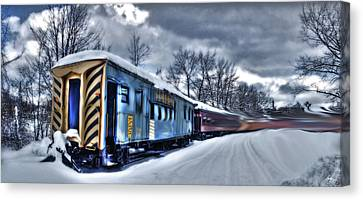 Canvas Print featuring the photograph Ghost Train In An Existential Storm by Wayne King