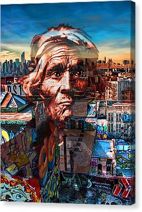 Ghost Tribe Native Americans In New York Red Canvas Print by Tony Rubino