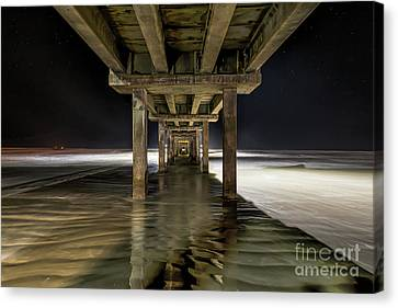 Ghostly Caldwell Pier At Dark Canvas Print