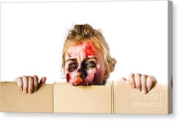 Ghoul Peeking Canvas Print by Jorgo Photography - Wall Art Gallery