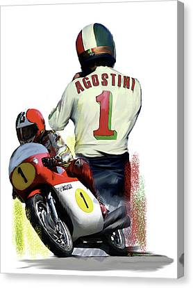 Canvas Print featuring the painting Giacomo Agostini  Ago by Iconic Images Art Gallery David Pucciarelli