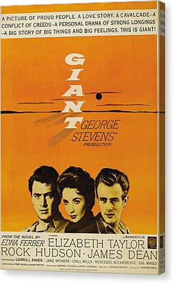 Giant, From Left Rock Hudson, Elizabeth Canvas Print by Everett