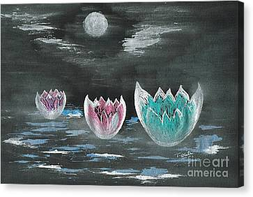 Giant Lilies Upon Misty Waters Canvas Print by Teresa White