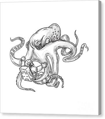 Giant Octopus Fighting Astronaut Tattoo Canvas Print by Aloysius Patrimonio