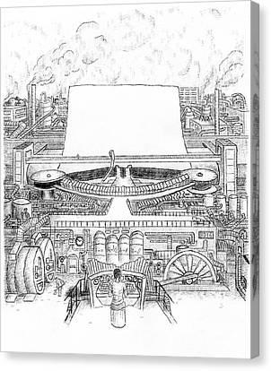 Giant Steam-driven Typewriter Canvas Print by Robert Doerfler