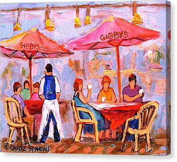 Canvas Print featuring the painting Gibbys Cafe by Carole Spandau