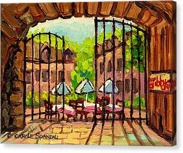 Gibbys Restaurant In Old Montreal Canvas Print by Carole Spandau