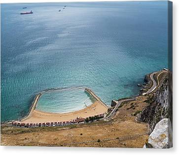 Gibraltar Rock View To The Beach Canvas Print