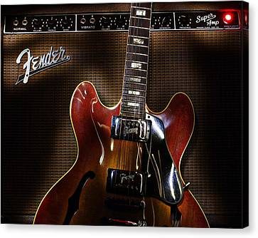 Canvas Print featuring the digital art Gibson 335 by Jim Mathis
