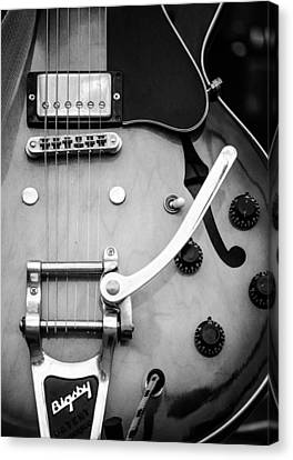 Gibson Electric Guitar Monochrome Canvas Print by Andrea Mazzocchetti