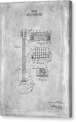 Gibson Guitar Canvas Print - Gibson Guitar Patent From 1955 by Mark Rogan