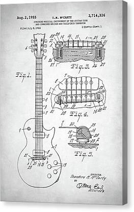 Canvas Print featuring the digital art Gibson Les Paul Electric Guitar Patent by Taylan Apukovska