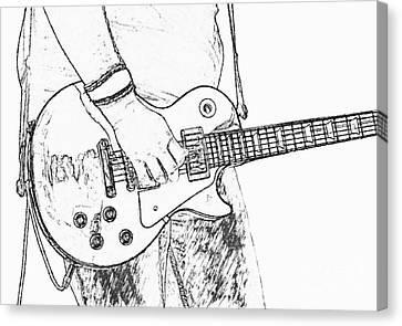 Gibson Les Paul Guitar Sketch Canvas Print by Randy Steele