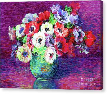 Gift Of Flowers, Red, Blue And White Anemone Poppies Canvas Print by Jane Small