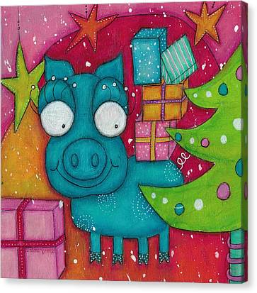 Canvas Print - Gifting Piggy by Barbara Orenya