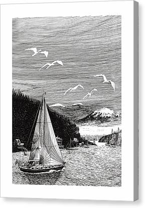 Gig Harbor Sailing School Canvas Print by Jack Pumphrey