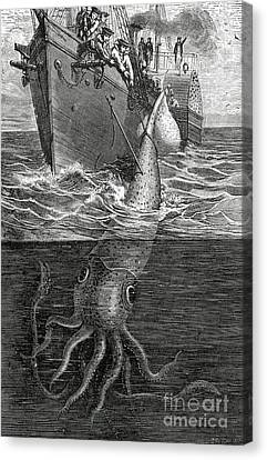 Tentacles Canvas Print - Gigantic Cuttle Fish by English School